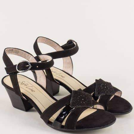 Дамски сандали с лепка на среден ток в черен цвят 828361vch
