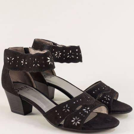 Дамски сандали с лепка в черен цвят на среден ток- Jana  828363nch
