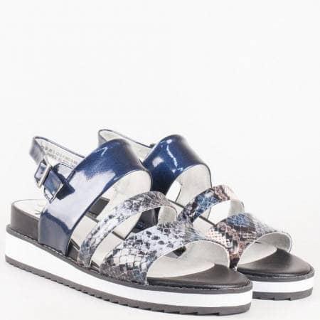 Модерни сини дамски сандали Jana еко лак със змийски мотив 828602ls