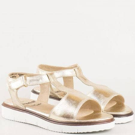 Златни равни сандали- дамски с велкро лепенка на немският производител Jana  828607zl