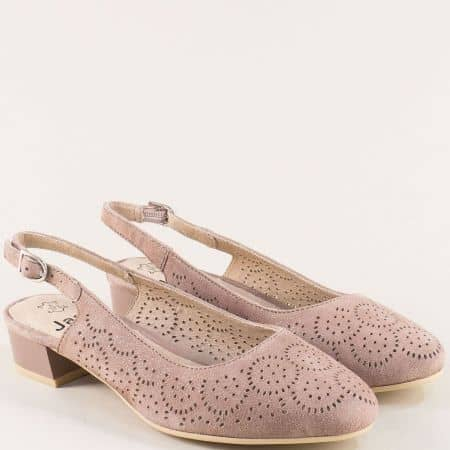 Велурени дамски обувки с отворена пета в розов цвят 829491rz
