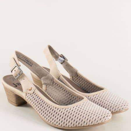 Дамски обувки с отворена пета от бежов естествен велур 829502vbj
