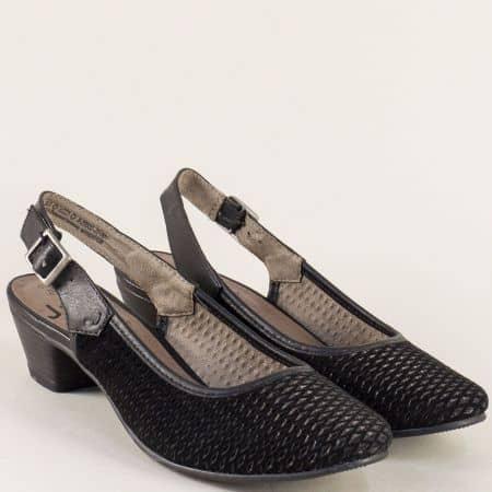 Велурени дамски обувки на нисък ток в черен цвят- Jana 829502vch