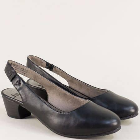 Дамски обувки с отворена пета и ластик в черен цвят 82956122ch