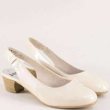 Бежови дамски обувки с отворена пета на нисък ток- Jana 82956122lbj