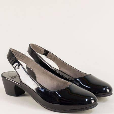 Дамски обувки с отворена пета на нисък ток в черен цвят 82956122lch