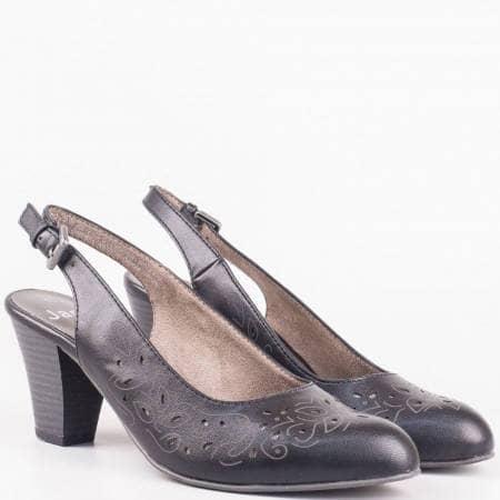 Немски дамски обувки с отворена пета и перфорация на висок ток в черен цвят 829600ch
