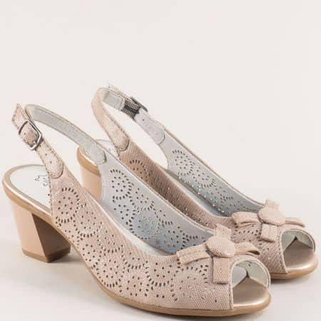 Бежови дамски сандали с кожена стелка и перфорация 829690bj
