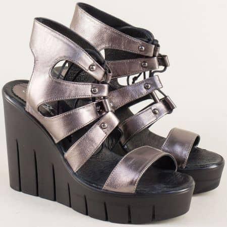 Бронзови дамски сандали на платформа с кожена стелка 8301010brz