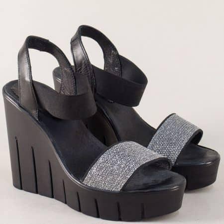 Дамски сандали в сиво и черно на платформа с ластик 830937chsv