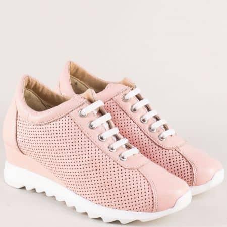 Кожени дамски обувки с връзки от естествена кожа 83201149rz