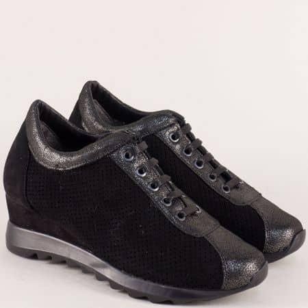 Перфорирани дамски обувки на платформа в черен цвят 83201149vch