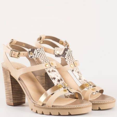 Дамски стилни сандали произведени от висококачествена естествена кожа на холандския производител Bull Boxer в бежов цвят 833006bj