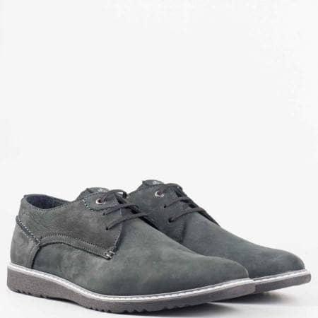 Мъжки комфортни обувки от естествен набук с естествен хастар в черен цвят  83338nch