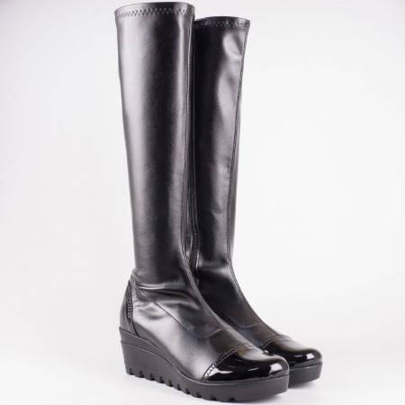 Дамски комфортни ботуши на платформа в черен цвят 83515431ch