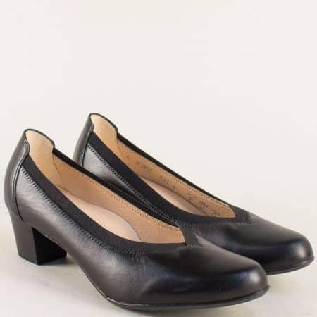 Черни дамски обувки на среден ток от естествена кожа 83591ch