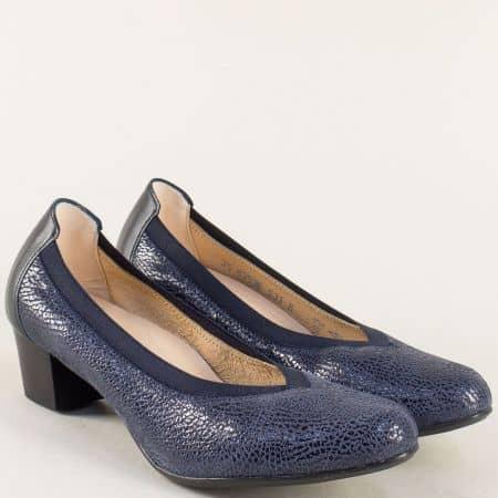 Сини дамски обувки на нисък ток от естествена кожа 83596s