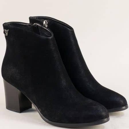 Черни дамски боти с цип на стабилен висок ток  836156nch