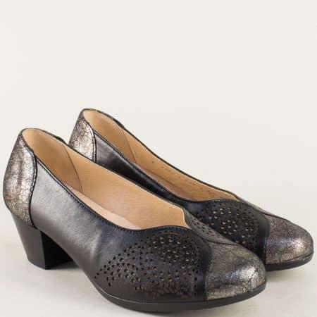Кожени дамски обувки в бронз и черно на среден ток 83806ch