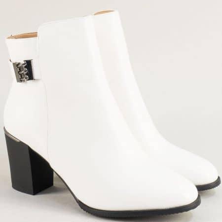 Бели дамски боти на висок ток с декорация- ELIZA 83848b