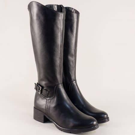 Черни дамски ботуши от естествена кожа- Nota Bene  842ch