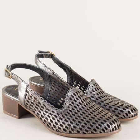Бронзови дамски обувки с отворена пета на среден ток 850501brz