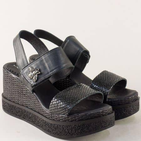 Черни дамски сандали на платформа с кожена стелка 85251165ch