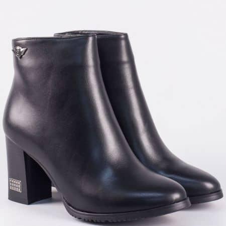 Стилни дамски боти на висок ток- Eliza в черен цвят 9532123ch