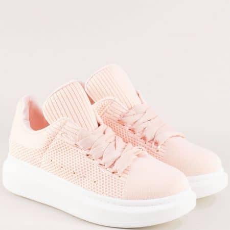 Дамски маратонки на удобно ходило в розов цвят 85381rz