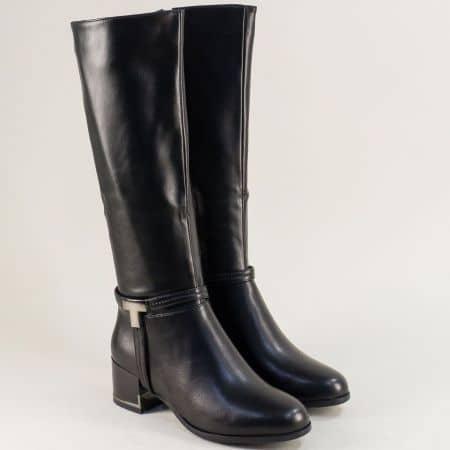 Дамски ботуши в черен цвят на стабилен среден ток- ELIZA 8539463ch