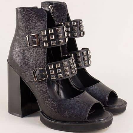 Черни дамски боти с отворени пръсти на висок ток- ELIZA 856003ch