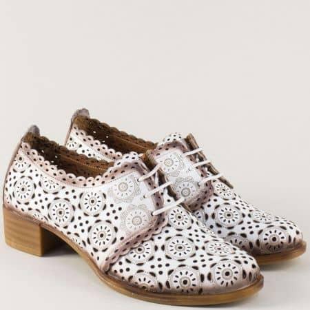 Бели дамски обувки с връзки от естествена кожа 8561b