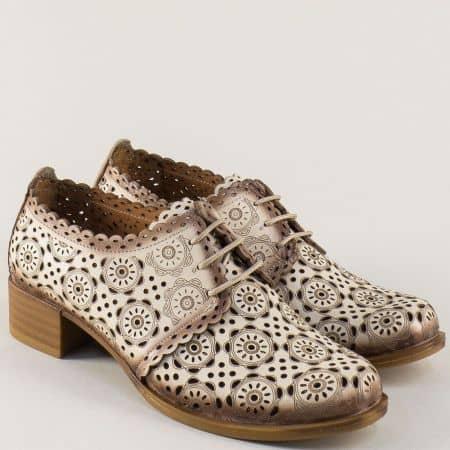 Перфорирани дамски обувки с връзки в бежов цвят 8561bj