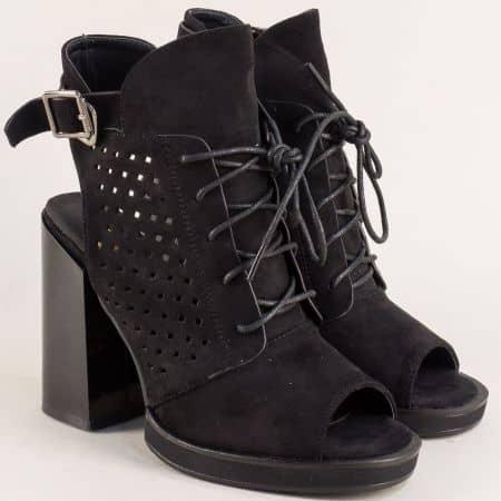 Черни дамски боти с отворени пръсти и пета на висок ток 856346vch