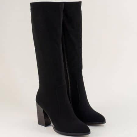 Черни дамски ботуши на висок ток с фин текстил 858370ch