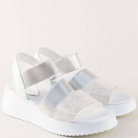 Дамски сандали от естествена кожа в сребро и бяло 862191170bsr