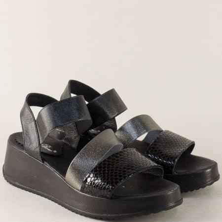 Дамски сандали в черно и сребро с ластик- Nota Bene  862191170chsr