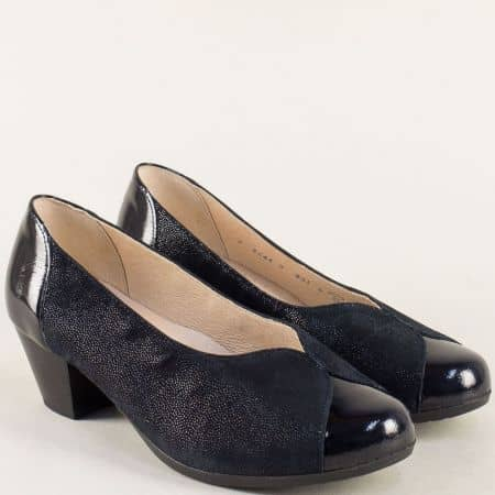 Тъмно сини дамски обувки от естествен лак и кожа 86433s