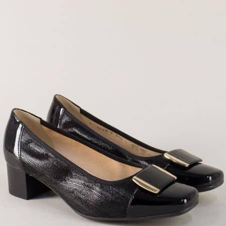 Дамски обувки от естествен лак и кожа в черен цвят 869ch