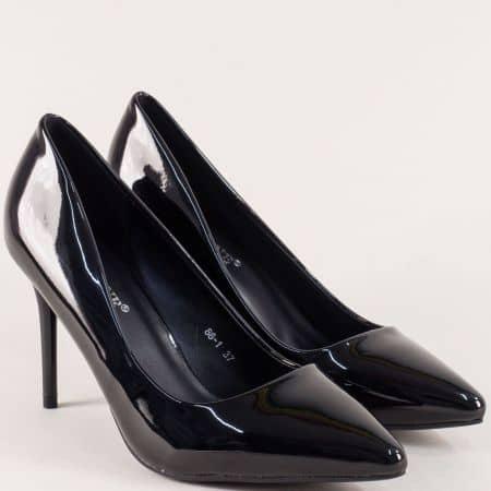 Лачени черни дамски обувки на висок ток  86ch