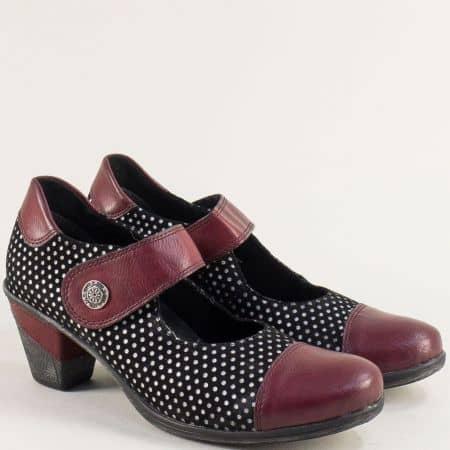 Дамски обувки на среден ток в черно и бордо- REMONTE 8705chps