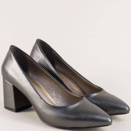 Елегантни бронзови дамски обувки на висок стабилен ток 873brz