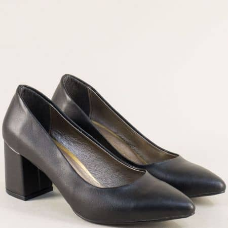 Черни дамски обувки със заострен връх и висок ток 873ch