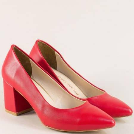 Червени дамски обувки със заострен връх и висок ток 873chv