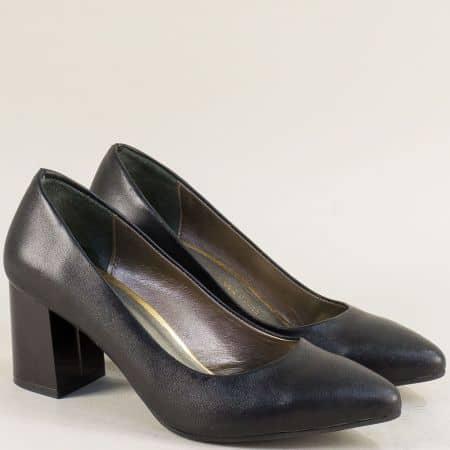 Черни дамски обувки със среден ток и кожена стелка  873ech