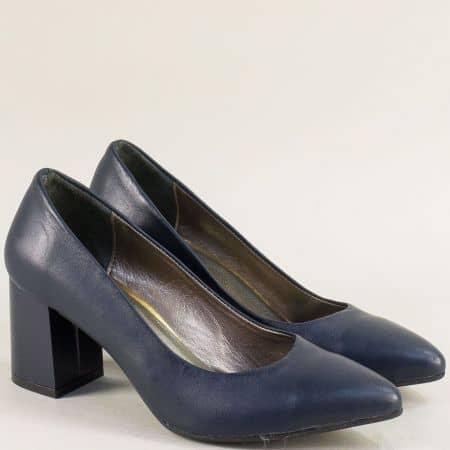 Дамски обувки от естествена кожа в тъмно син цвят 873es