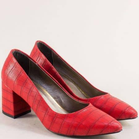 Червени дамски обувки с кроко принт на висок ток  873krchv