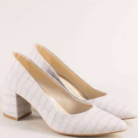 Сиви дамски обувки с кроко принт и заострен връх 873krsv
