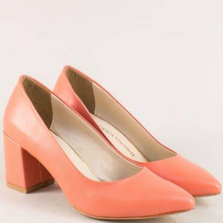 Оранжеви дамски обувки със заострен връх и висок ток 873o