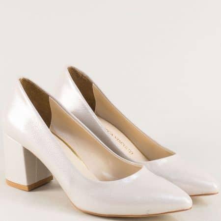 Дамски елегантни обувки на висок ток в бежов цвят 873sbj